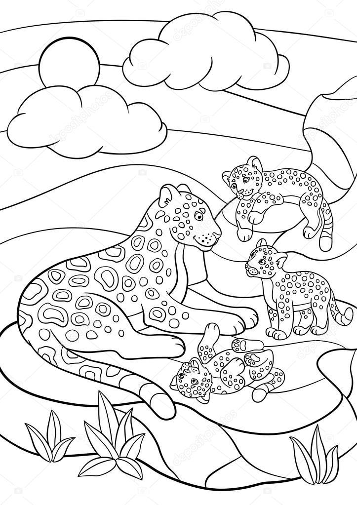 Animado: jaguar para colorear | Dibujos para colorear. Madre jaguar ...