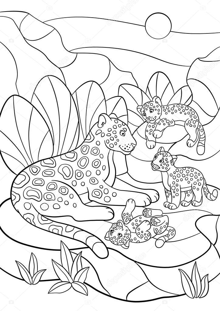 Dibujos para colorear. Madre jaguar con sus pequeños cachorros ...