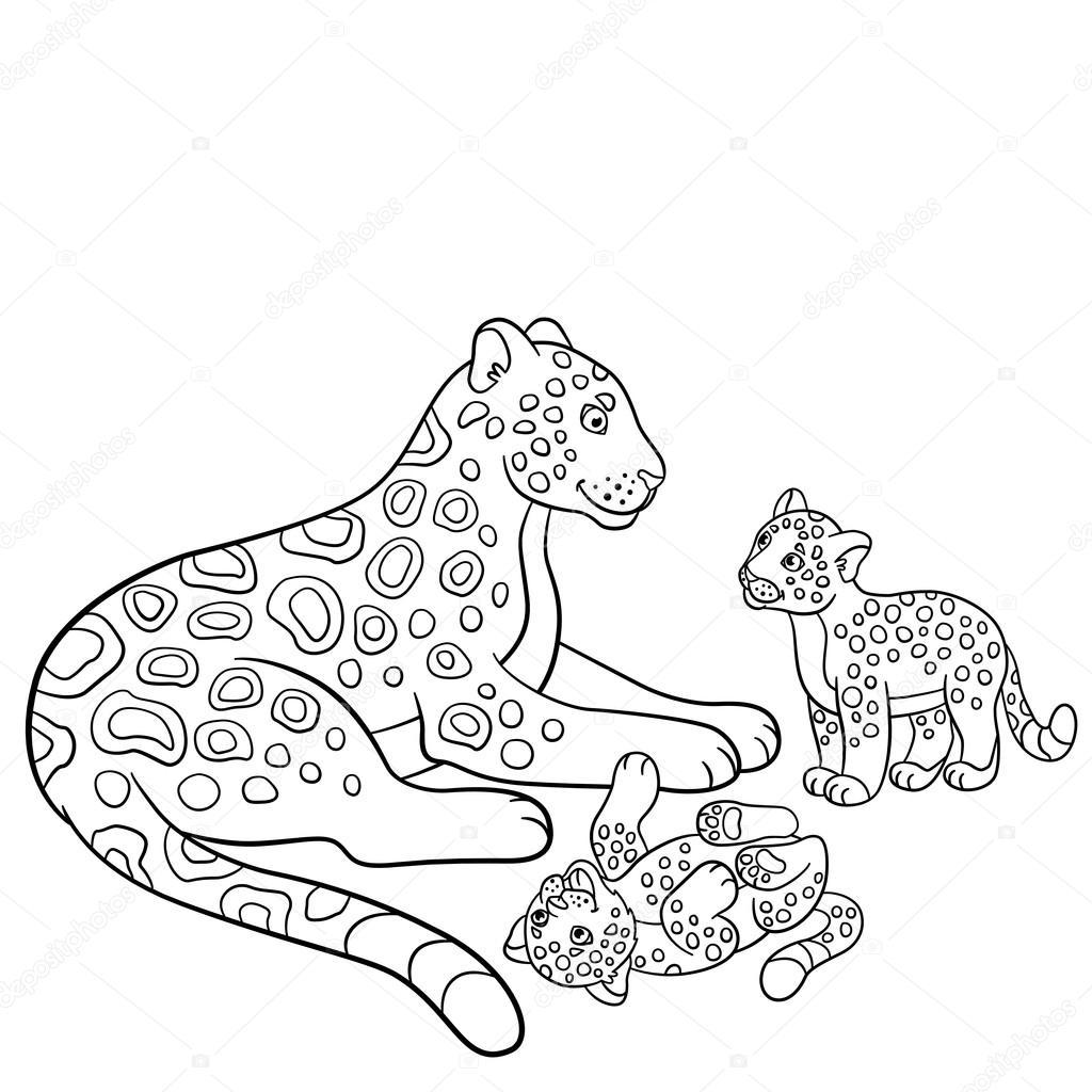 kleurplaten moeder jaguar met haar schattige welpen