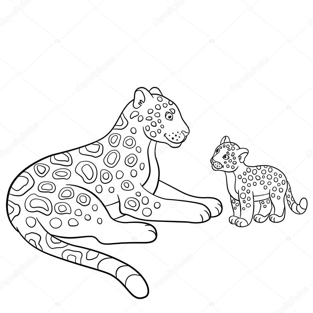 Malvorlagen. Mutter Jaguar mit ihrem kleinen Jungen — Stockvektor ...