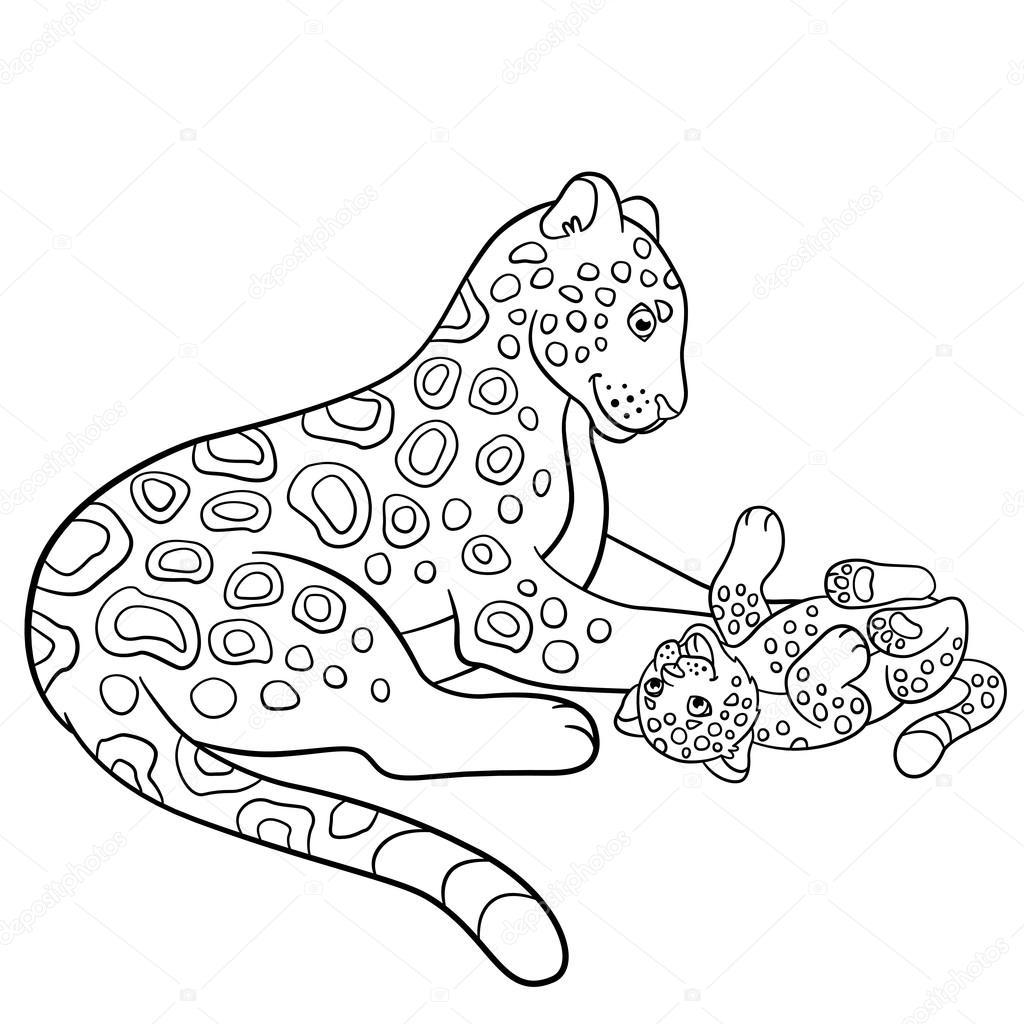 Dibujos para colorear. Madre jaguar con su cachorro pequeño ...