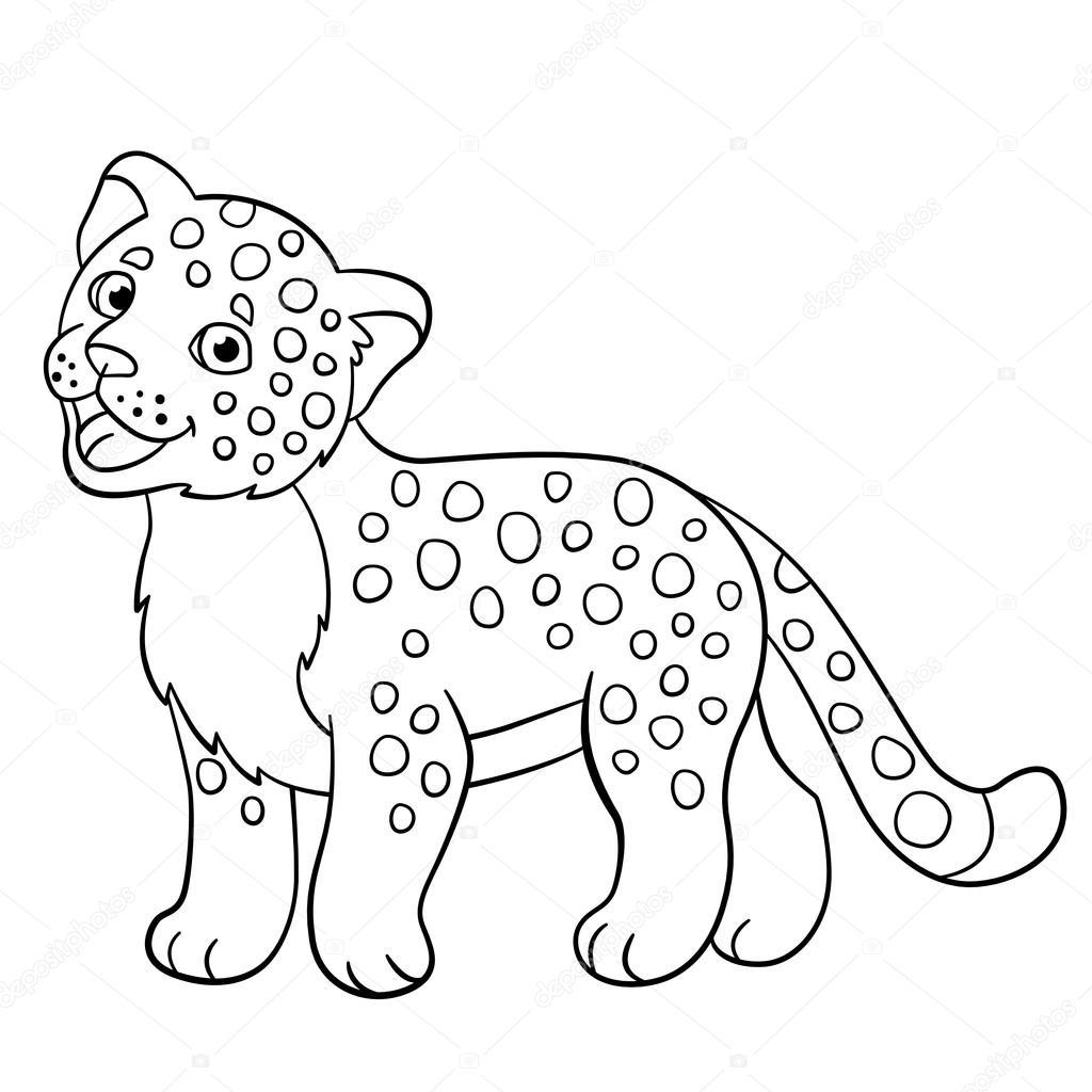 Malvorlagen. Kleine niedliche Baby Jaguar lächelt — Stockvektor © ya ...