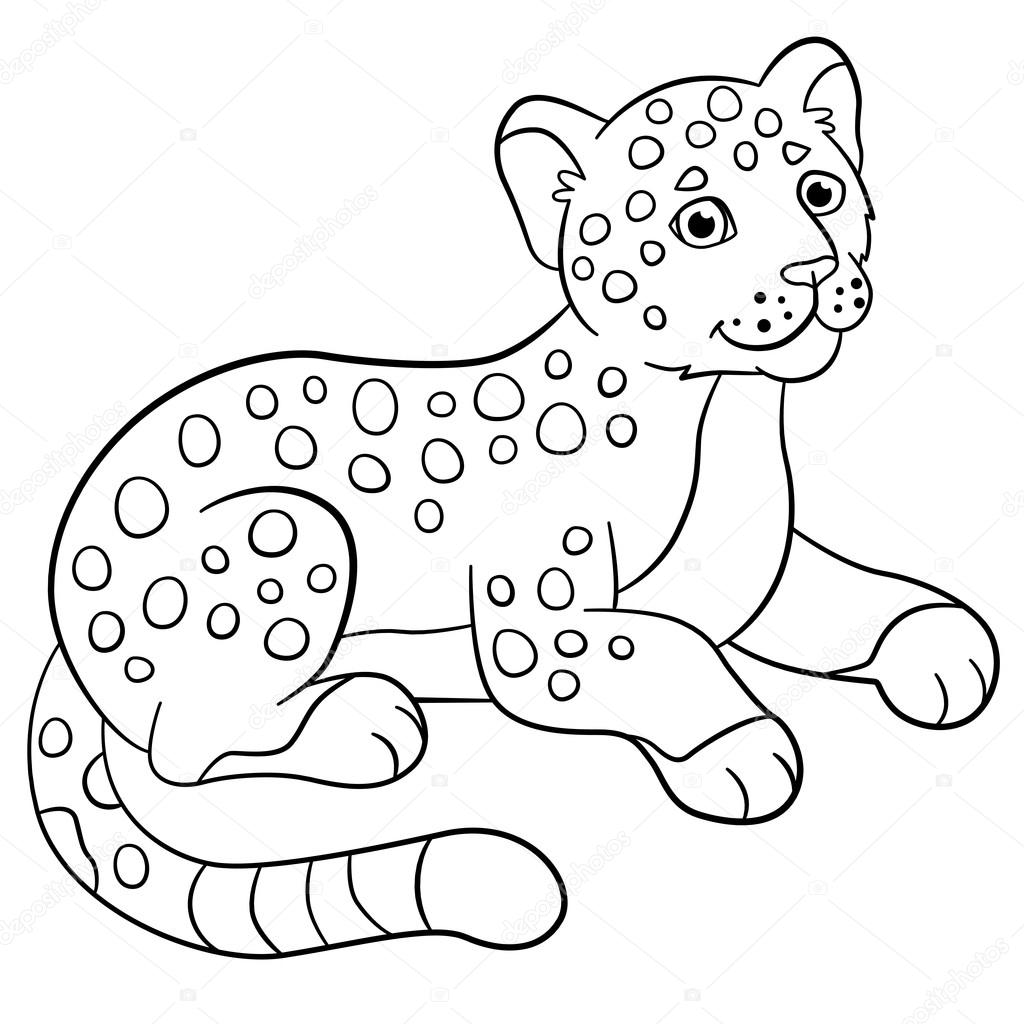 Dibujos para colorear. Sonrisas de jaguar de lindo bebé poco ...