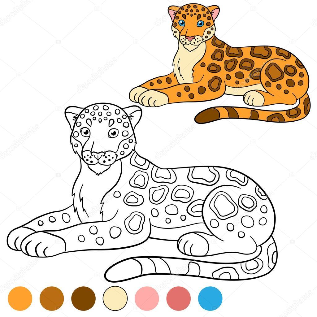 Kleurplaat Met Kleuren Schattig Jaguar Glimlacht Stockvector C Ya