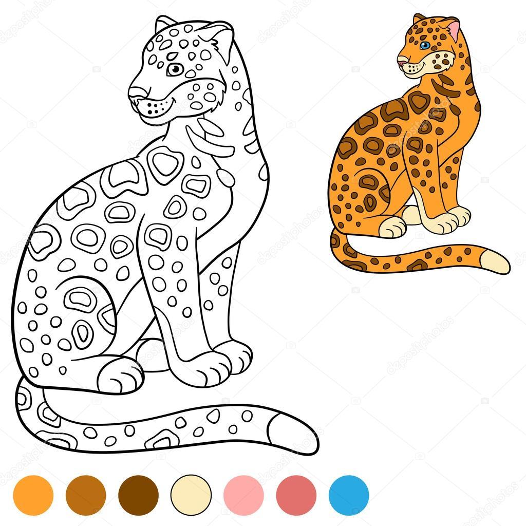 Página para colorear con colores. Sonrisas de lindo jaguar — Archivo ...