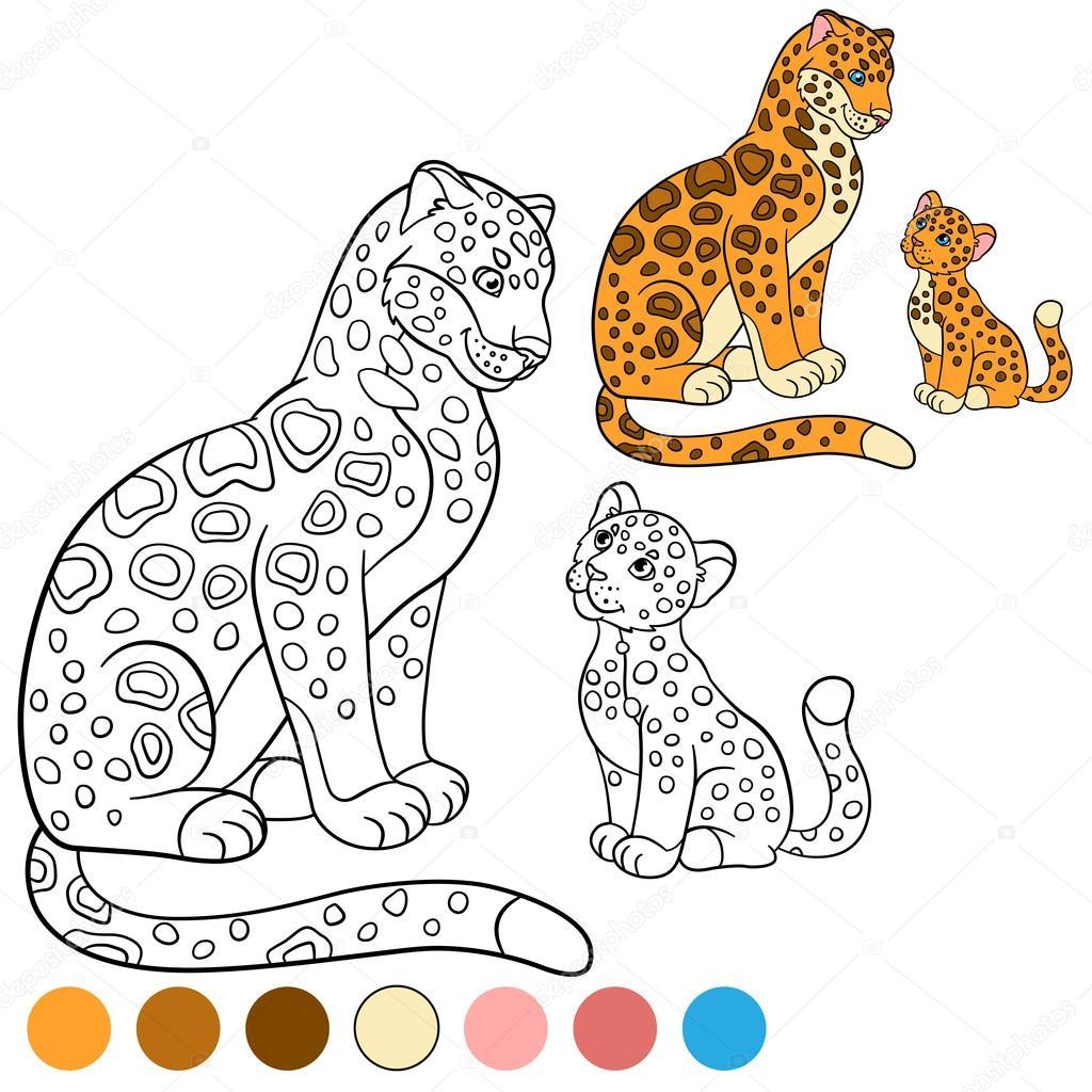 Página para colorear con colores. Madre jaguar con su Lindo cachorro ...