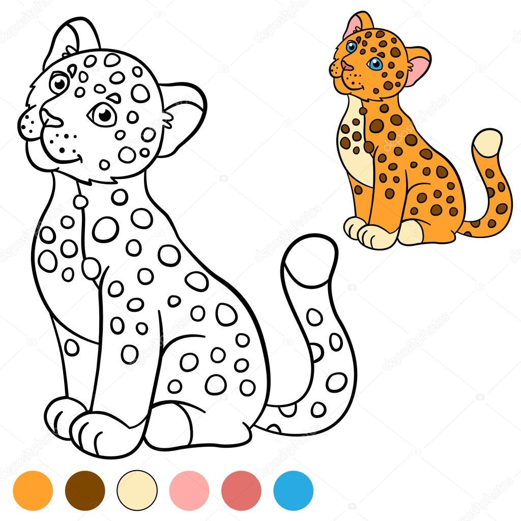 Página para colorear con colores. Jaguar de lindo bebé poco — Vector ...