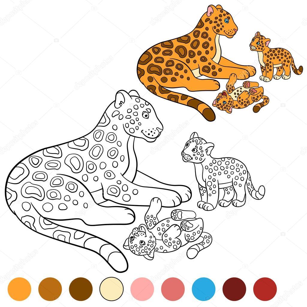 kleurplaat met kleuren moeder jaguar met haar welpen