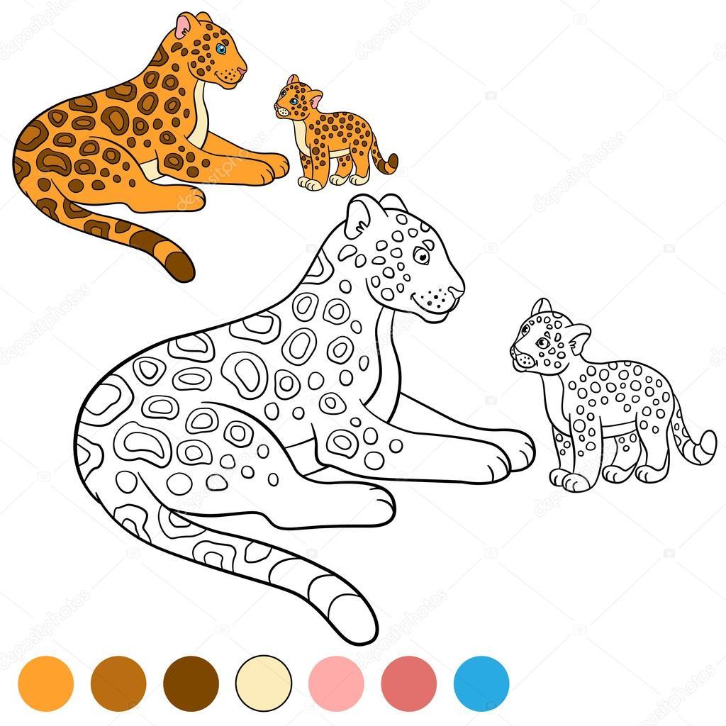 Página para colorear con colores. Madre jaguar con su cachorro ...