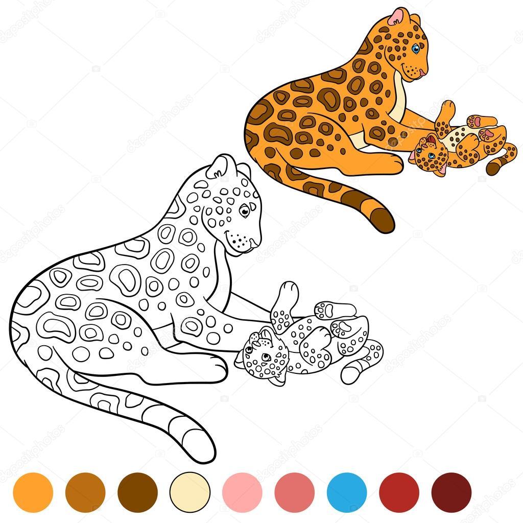 Boyama Page Renkler Yavrusunu Ile Anne Jaguar Stok Vektör Ya