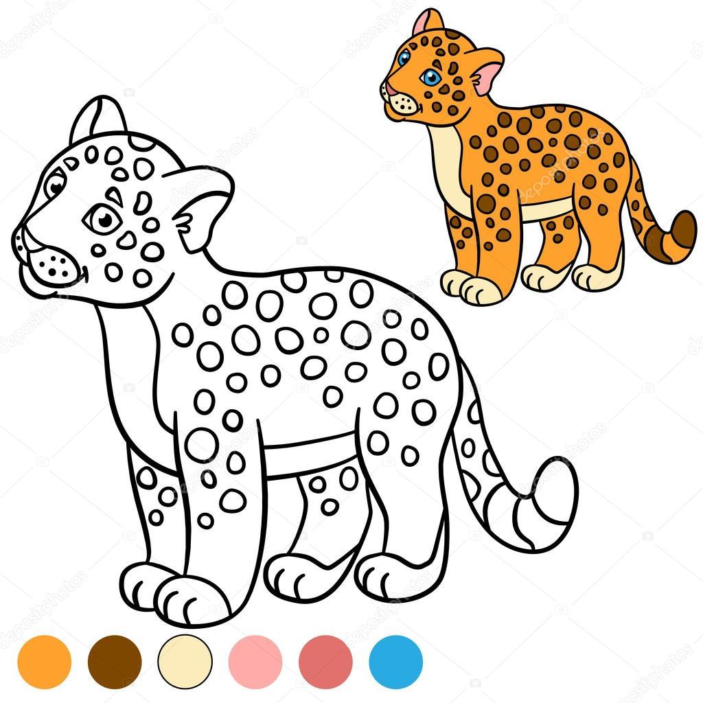 Página para colorear con colores. Jaguar de lindo bebé poco ...