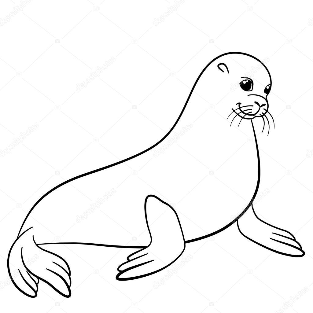 Dibujos para colorear. Pequeñas sonrisas Linda foca — Archivo ...