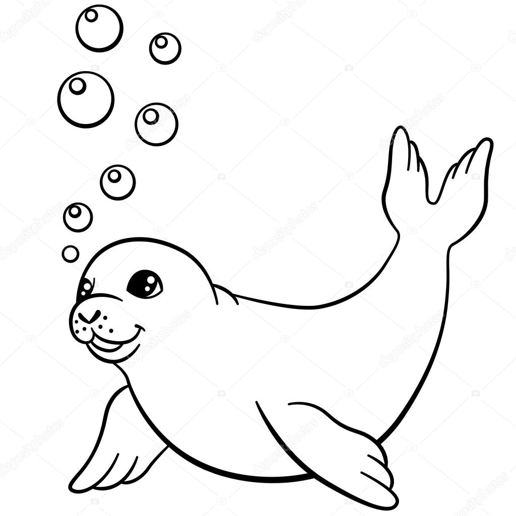 Kleurplaten kleine schattige baby zeehond zwemt - Coloriage de phoque ...
