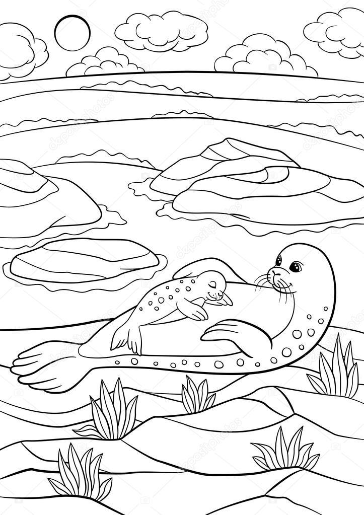 Malvorlagen. Mutter mit ihrem kleinen niedlichen Baby seal ...