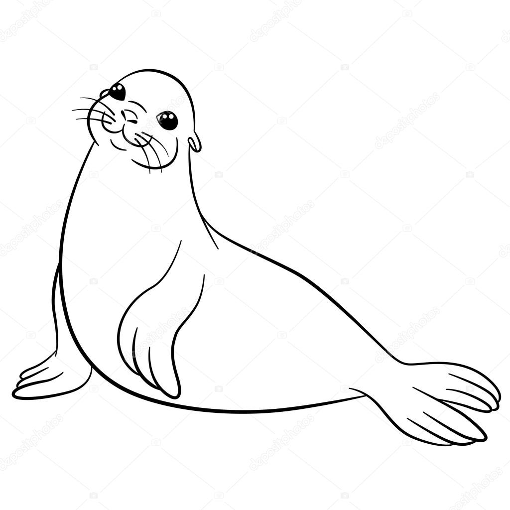 Dibujos para colorear. Pequeñas sonrisas Linda foca — Vector de ...