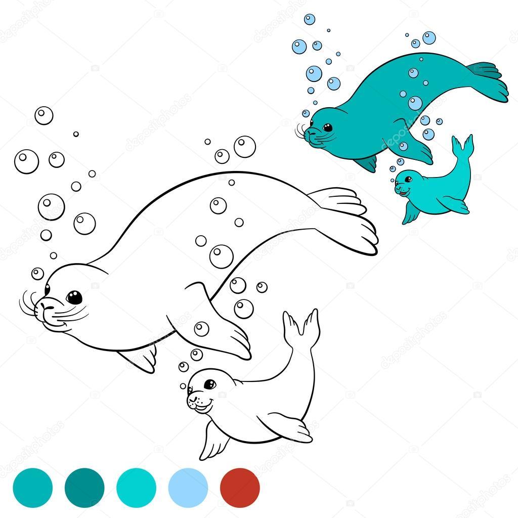 Página para colorear con colores. Madre del sello nada con su bebé ...