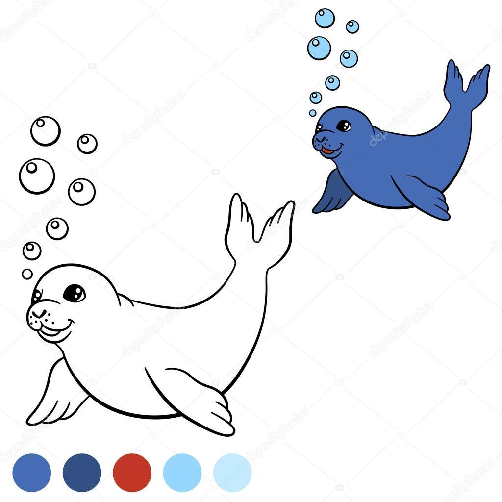 Malvorlagen mit Farben. Kleine süße Baby-Robbe schwimmt ...