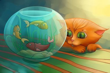 Little cat looking at fishes
