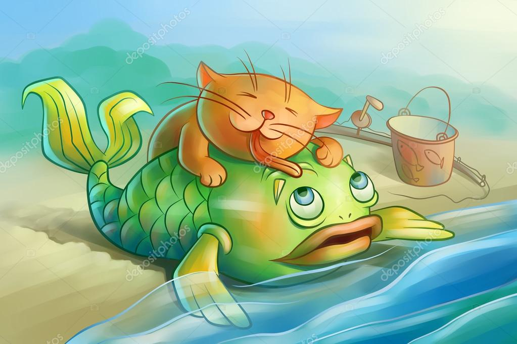 red cat loves fish