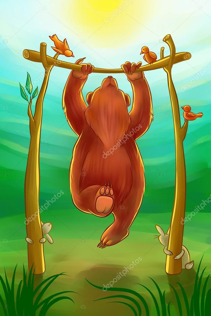 bear doing chin-ups
