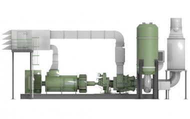 Gas turbine, in 3d