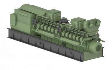 Gas-engine. In 3d