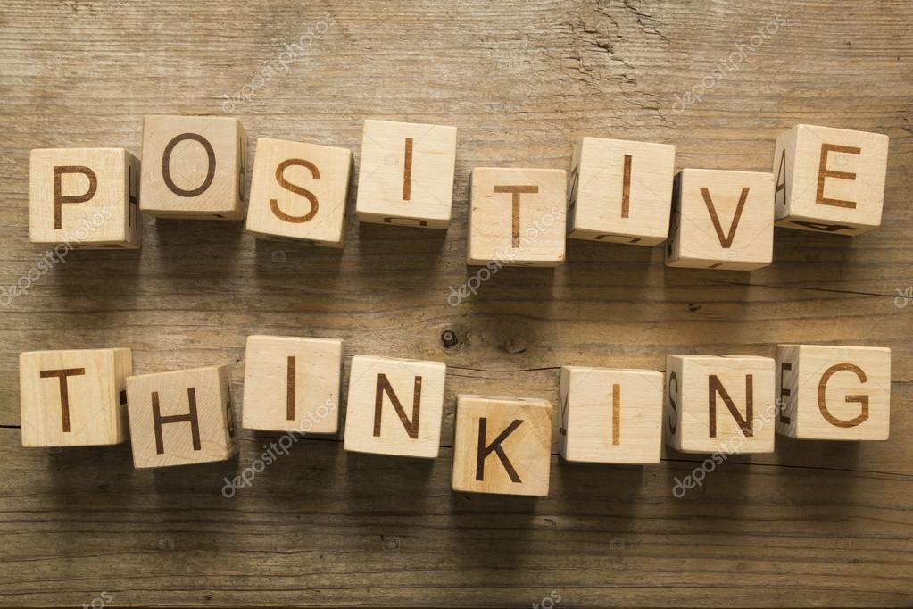 Positives Denken Text Auf Eine Hölzerne Blöcke Auf Einem Hölzernen