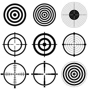 Sniper scope and shooting target icon set
