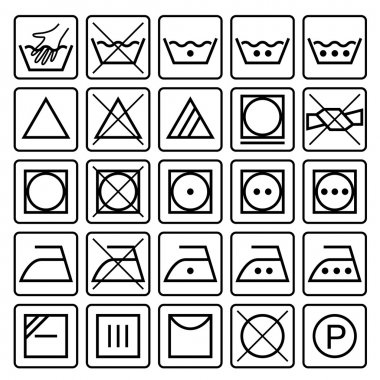 Laundry care symbols. Set of textile care icons. Wash, care signs.