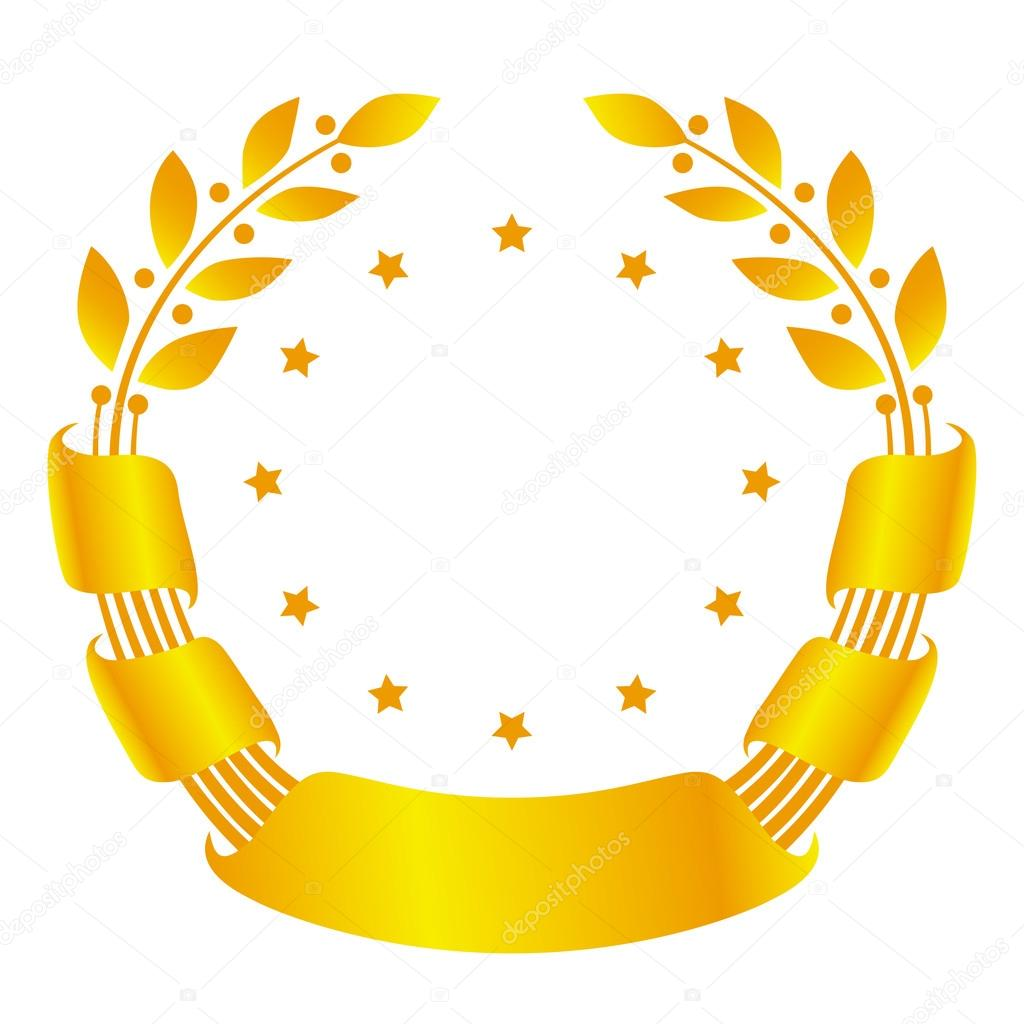 Laurel wreath with ribbon and stars