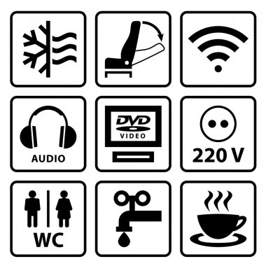 Pictograms for touristic bus