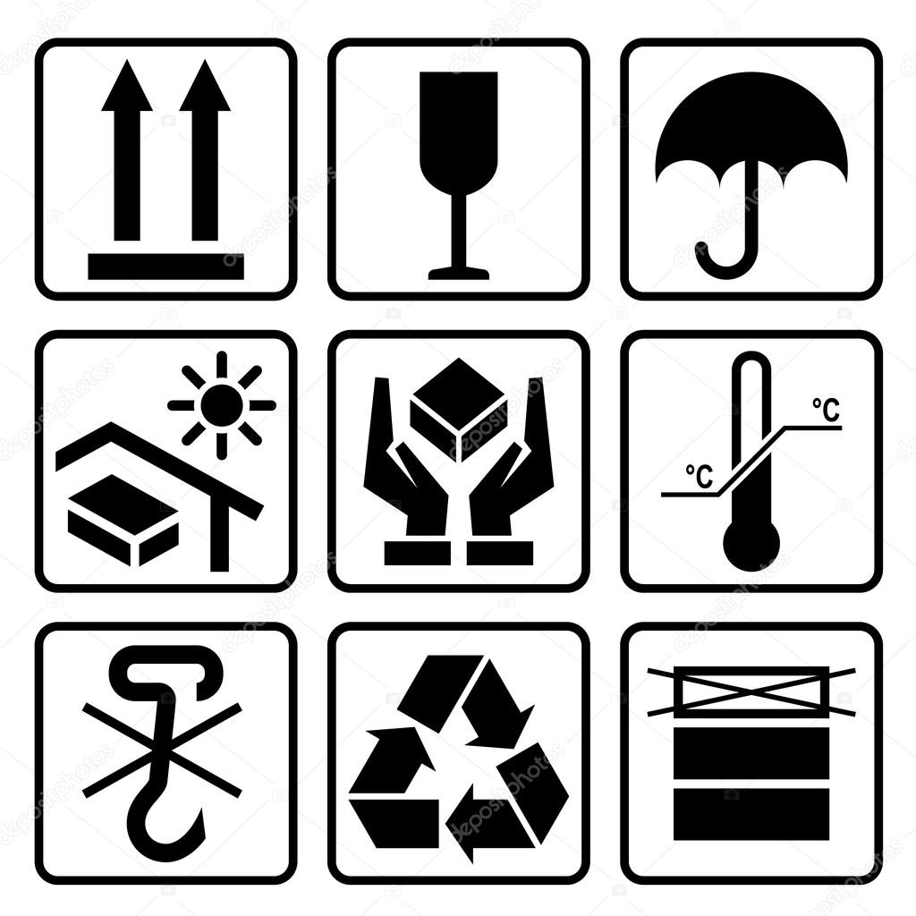 Cardboard packaging icon set