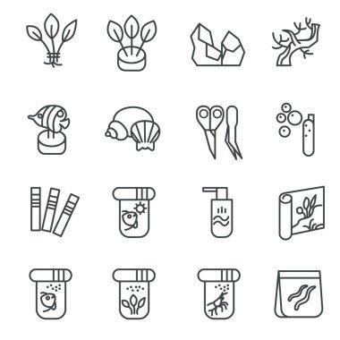Items for aquarium hobby as line icons set 2