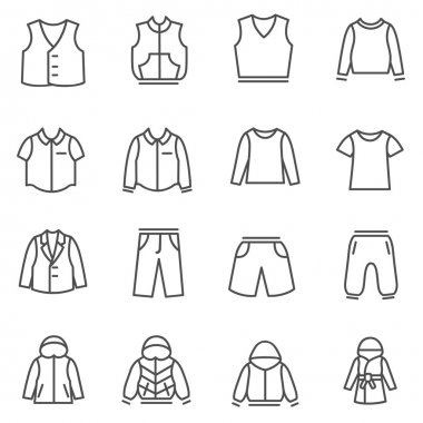 Types of clothes for boys and teenagers as line icons