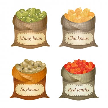 Four untied sacks with beans, peas, lentils and labels on them
