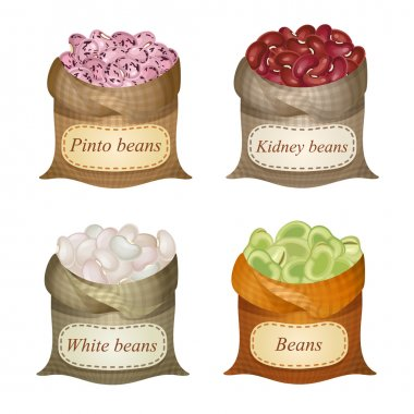 Four untied sacks with beans, peas and labels on them