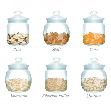 Six glass jars with cereals in them