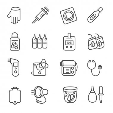 Different types of medicines and medical tools as line icons