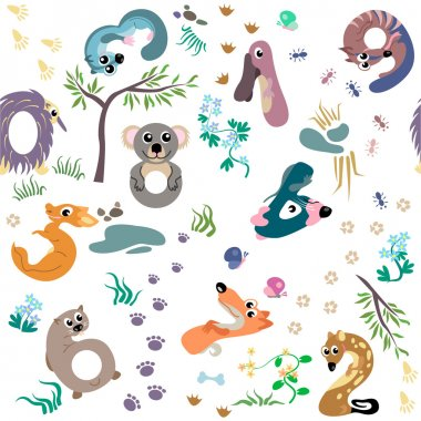 Numbers like Australian animal seamless pattern