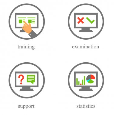 Online training and testing icons