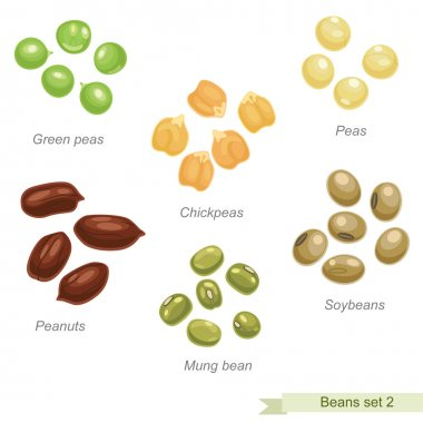 Beans and peas second icon set