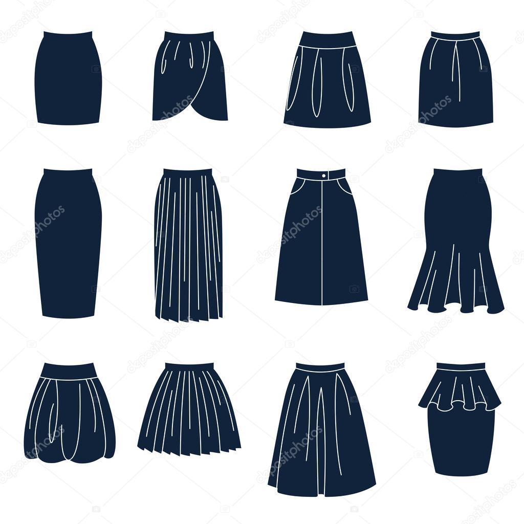 Diferentes tipos de faldas de mujeres — Vector de stock ...