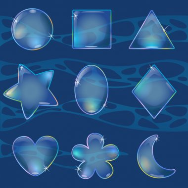 Different shaped bubbles in water