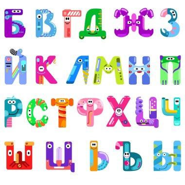 Consonants of the Cyrillic alphabet like different robots