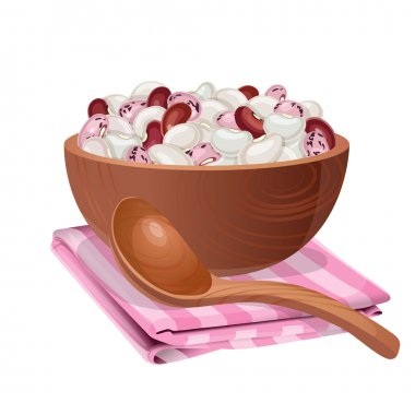 Wooden bowl with white, red, and pink beans in it