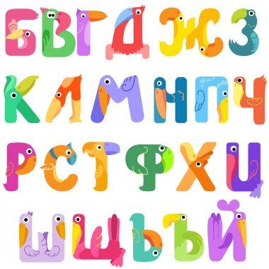 Consonants of the Cyrillic alphabet like birds