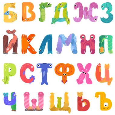 Consonants of the Cyrillic alphabet like sea inhabitants