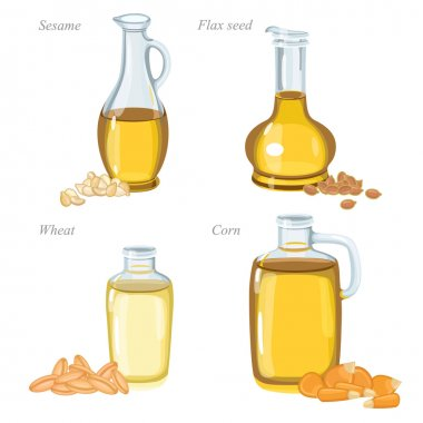 Four glass bottles with oil and oilseeds in front of them.