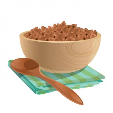 Wooden bowl with buckwheat in it