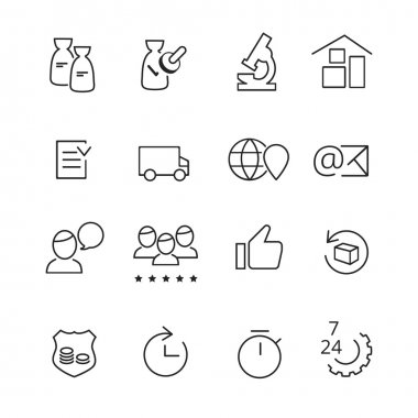 Set of line icons for manufacturing and production